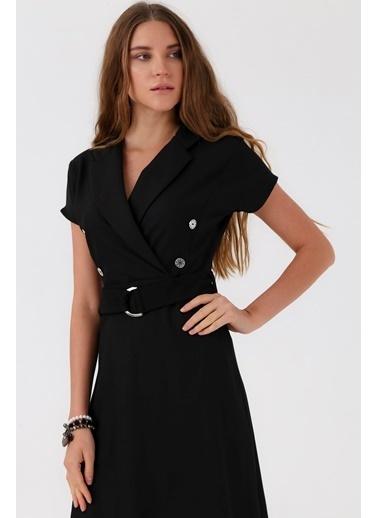 Jument Sentos Yakalı Anvelop Düğmeli Kemerli Volanlı Elbise Siyah